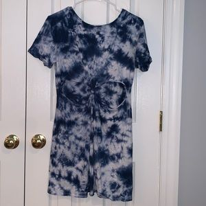 Tie Dye dress with slit and knot in middle